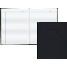 "Blueline Hardbound Business Books - 192 Sheets - Perfect Bound - Ruled Blue Margin - 9 1/4"" x 7 1/4"" - White Paper - Black Cover - Hard Cover, Self-adhesive, Index Sheet - Recycled - 1Each"
