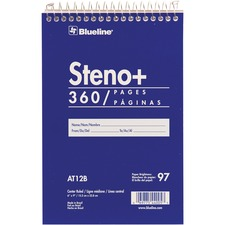"Blueline White Paper Wirebound Steno Pad - 350 Sheets - Wire Bound - Front Ruling Surface - 6"" x 9"" - White Paper - Cardboard Cover - Stiff-cover - 1Each"