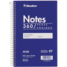 "Blueline White Paper Wirebound Steno Pad - 360 Sheets - Spiral - Front Ruling Surface - 9"" x 6"" - White Paper - Blue Cover - Cardboard Cover - Flexible Cover - 1Each"