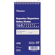 """Blueline Reporter Notebook - 160 Sheets - Spiral - 4"""" x 8"""" - White Cover"""