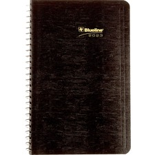 "Blueline Wirebound Daily Appointment Planner - Yes - Daily - 1 Year - January 2019 till December 2019 - 7:00 AM to 7:30 PM - 1 Day Single Page Layout - 5"" x 8"" - Wire Bound - Black - Appointment Schedule, Reference Calendar, Notes Area, Tear-off, Address"