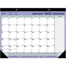 "Blueline Perforated Monthly Desk Pad Calendar - Monthly - January 2019 till December 2019 - 21 1/4"" x 16"" - Desk Pad, Wall Mountable - Bilingual, Notepad, Reference Calendar, Perforated, Tear-off, Non-refillable"