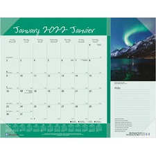 "Blueline Monthly Canadian Provinces Planner - Julian - Monthly - 1 Year - January 2019 till December 2019 - 1 Month Single Page Layout - 21 1/4"" x 17"" - Desk Pad - Clear - Vinyl - Bilingual, Notepad, Reference Calendar, Reinforced"
