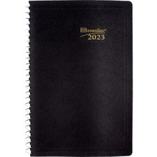 """Brownline Economical Daily Planner - Daily - 1 Year - January 2021 till December 2021 - 7:00 AM to 7:30 PM - Half-hourly - 1 Day Single Page Layout - 5"""" x 8"""" Sheet Size - Wire Bound - Black - Plastic - Appointment Schedule, Reference Calendar, Tear-off - 1 Each"""