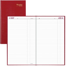 """Blueline Brownline Folio Appointment Book - Daily - January 2021 till December 2021 - 1 Day Single Page Layout - 7 7/8"""" x 13 3/8"""" Sheet Size - Red - Hard Cover, Reference Calendar, Tear-off, Tabbed - 1 Each"""