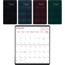 """Brownline Saddle Stitched Two Year Monthly Planner - Julian Dates - Monthly - 2 Year - January 2021 till December 2022 - 3 1/2"""" x 6 1/2"""" Sheet Size - Saddle Stitch - Assorted - Vinyl - Notepad, Soft Cover - 1 Each"""