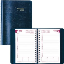 """Blueline Brownline Daily Appointment Journal - Julian Dates - Daily - January 2021 till December 2021 - 7:00 AM to 7:30 PM - Half-hourly - 5"""" x 8"""" Sheet Size - Twin Wire - Blue - Reminder Section, Notepad, Phone Directory, Address Directory, Tear-off - 1 Each"""