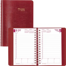 """Blueline Essential Daily Appointment Journal - Julian Dates - Daily - January 2022 till December 2022 - 8:00 AM to 7:00 PM - Half-hourly - 5"""" x 8"""" Sheet Size - Twin Wire - Red - Reference Calendar, Reminder Section, Notepad, Address Directory, Phone Direc"""