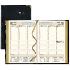 """Brownline Weekly Executive Appointment Book - Weekly - January 2016 till December 2016 - 7:00 AM to 8:00 PM - Half-hourly - 5 1/2"""" x 8 1/4"""" Sheet Size - Sewn - Black - Leather - Trilingual, Hard Cover, Gilt Edge, Ribbon Marker, Expense Form, Maps, Pocket - 1 Each"""