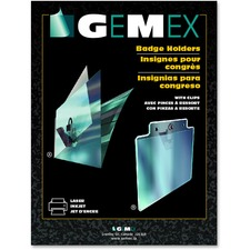 """Gemex Badge Holder with Clip - 2.25"""" (57.15 mm) x 3.50"""" (88.90 mm) x - Acetate - 100 / Box - Clear"""