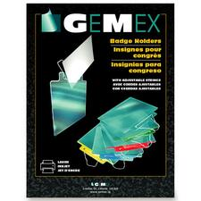 """Gemex Color Coded Badge Holder with Adjustable String - 3"""" (76.20 mm) x 4"""" (101.60 mm) x - Acetate - 100 / Box - Blue"""