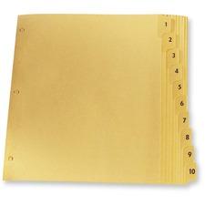 "Oxford Laminated Tab Index Divider - Printed Tab(s) - Digit - 1-10 - 8.50"" Divider Width x 11"" Divider Length - Letter - Buff Plastic Tab(s) - 10 / Set"