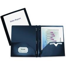 "Winnable Report Cover - 10"" x 11 1/2"" - 3 Fastener(s) - 2 Pocket(s) - Dark Blue - 1 Each"