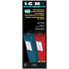 """Gemex Adhesive Vinyl Pocket - 2"""" Height x 3.5"""" Width - Clear - Vinyl - 10 / Pack"""