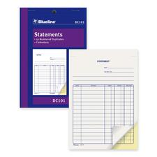 "Blueline DC101 Statement Book - 50 Sheet(s) - 2 Part - Carbonless Copy - 5 3/8"" x 8"" Sheet Size - Blue Cover - 1 Each"