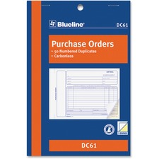 "Blueline Purchase Order Form Book - 50 Sheet(s) - 2 PartCarbonless Copy - 8"" x 5 3/8"" Sheet Size - Blue Cover - 1 Each"