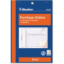"Blueline Purchase Order Form Book - 50 Sheet(s) - 3 Part - Carbonless Copy - 8"" x 5 3/8"" Sheet Size - Blue Cover - 1 Each"