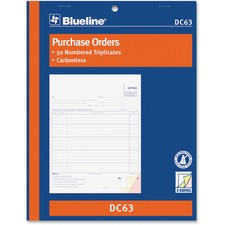 "Blueline Purchase Order Form Book - 50 Sheet(s) - 3 Part - Carbonless Copy - 8 1/2"" x 11"" Sheet Size - Blue Cover - 1 Each"