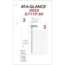 "At-A-Glance Daily Desk Calendar - Julian Dates - Daily - 1 Year - January 2021 till December 2021 - 7:00 AM to 5:00 PM - Half-hourly - 1 Day Double Page Layout - 3 1/2"" x 6"" Sheet Size - Refillable, Bilingual, Reference Calendar, Hole-punched - 1 Each"