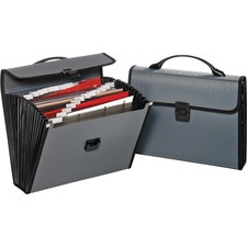 Globe-Weis Carrying Case File Folder - Gray, Black - Poly - 1 Pack
