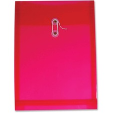 "Winnable Transparent Poly Inter-Department Envelope - Clasp - 9 1/2"" Width x 13"" Length - Poly - 1 Each - Red"