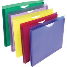 "Winnable Colored Poly File Jacket - Letter - 8 1/2"" x 11"" Sheet Size - 1"" Expansion - Assorted - 5 / Pack"