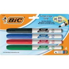 BIC Great Erase Whiteboard Marker - Fine Marker Point - No - Red, Black, Blue, Green Alcohol Based Ink - 4 / Pack