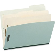 "Pendaflex 1/3 Tab Cut Letter Recycled Classification Folder - 8 1/2"" x 11"" - 6 Fastener(s) - 2 Divider(s) - Pressboard - Green - 10% - 1 Each"