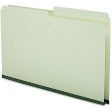 "Pendaflex Top Tab File Folder - Legal - 8 1/2"" x 14"" Sheet Size - 22 pt. Folder Thickness - Pressboard - Green - Recycled - 50 / Box"