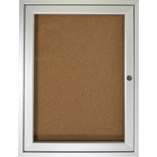 "Ghent 1-door Enclosed Indoor Bulletin Board - 36"" (914.40 mm) Height x 24"" (609.60 mm) Width - Cork Surface - Shatter Resistant - 1 Each"