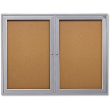 "Ghent 2-Door Enclosed Bulletin Board - 48"" (1219.20 mm) Height x 36"" (914.40 mm) Width - Cork Surface - Shatter Resistant - 1 Each"