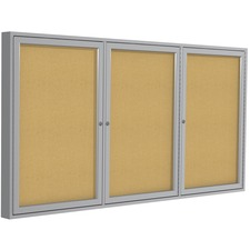 "Ghent 3-Door Enclosed Indoor Bulletin Board - 36"" (914.40 mm) Height x 72"" (1828.80 mm) Width - Cork Surface - Shatter Resistant, Self-healing - Satin Aluminum Frame - 1 Each"