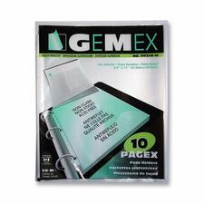 """Gemex Top-loading Page Protectors - 0"""" Thickness - For Letter 8 1/2"""" x 11"""" Sheet - 3 x Rings - Ring Binder - Rectangular - Polypropylene - 10 / Pack"""