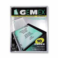 """Gemex Top-loading Page Protectors - 0"""" Thickness - For Letter 8 1/2"""" x 11"""" Sheet - 3 x Rings - Ring Binder - Rectangular - Clear - Polypropylene - 10 / Pack"""