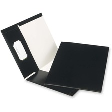 "Oxford Letter Recycled Pocket Folder - 8 1/2"" x 11"" - 100 Sheet Capacity - 2 Pocket(s) - Black - 100% Recycled - 25 / Box"