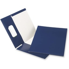 "Oxford Letter Recycled Pocket Folder - 8 1/2"" x 11"" - 100 Sheet Capacity - 2 Pocket(s) - Navy - 100% Recycled - 25 / Box"
