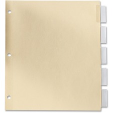 Oxford Insertable Index Tab - 5 Tab(s) - Legal - Manila Divider - Clear Plastic Tab(s) - 5 / Set