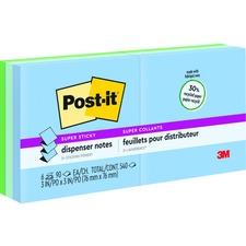 "Post-it Pop-up Super Sticky Notes Refill - BORA BORA - 3"" x 3"" - Square - Aqua Wave, Neptune Blue, Orchid - 6 / Pack"