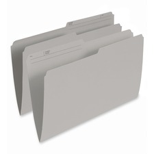 "Pendaflex 1/2 Tab Cut Legal Recycled Top Tab File Folder - 8 1/2"" x 14"" - Gray - 10% Recycled - 100 / Box"