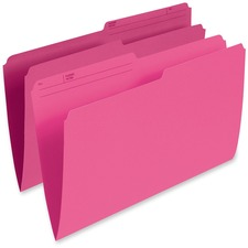 "Pendaflex 1/2 Tab Cut Legal Recycled Top Tab File Folder - 8 1/2"" x 14"" - Pink - 10% Recycled - 100 / Box"