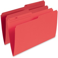 "Pendaflex 1/2 Tab Cut Legal Recycled Top Tab File Folder - 8 1/2"" x 14"" - Red - 10% Recycled - 100 / Box"