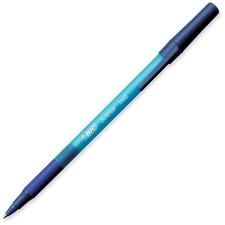 BIC Soft Feel Stic Pen - Medium Pen Point - Blue - Blue Rubber Barrel - 12 / Box