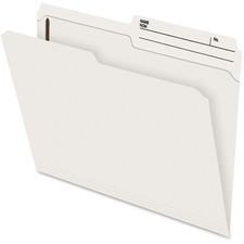 "Pendaflex File Folder with Fastener - Letter - 8 1/2"" x 11"" Sheet Size - 2"" Fastener Capacity for Folder - 1/2 Tab Cut - Right Tab Location - 10.5 pt. Folder Thickness - Ivory - Recycled - 100 / Box"