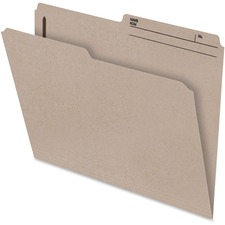 "Pendaflex File Folder with Fastener - Letter - 8 1/2"" x 11"" Sheet Size - 2"" Fastener Capacity for Folder - 1/2 Tab Cut - Right Tab Location - 10.5 pt. Folder Thickness - Natural Sand - Recycled - 100 / Box"