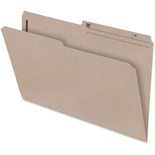 "Pendaflex Slimtrim 1/2 Cut Tab Folder with Fastener - Legal - 2"" Fastener Capacity for Folder - 1/2 Tab Cut - Right Tab Location - 10.5 pt. Folder Thickness - Natural Sand - Recycled - 100 / Box"