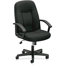 "HON High-Back Executive Chair - Fabric Black Seat - Black Frame - 5-star Base - Black - 26.5"" Width x 27"" Depth x 44"" Height"