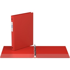 """Davis Round Ring Commercial Binder - 1/2"""" Binder Capacity - 8 1/2"""" x 11"""" Sheet Size - 2 x Round Ring Fastener(s) - 2 Inside Front & Back Pocket(s) - Red - Recycled - 1 Each"""