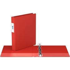 "Davis D Ring Commercial Binder - 1"" Binder Capacity - 8 1/2"" x 11"" Sheet Size - D-Ring Fastener(s) - 2 Inside Front & Back Pocket(s) - Red - Recycled - 1 Each"