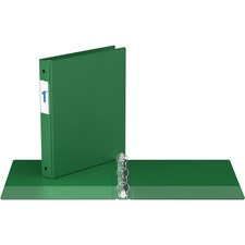 """Davis Round Ring Commercial Binder - 1"""" Binder Capacity - 8 1/2"""" x 11"""" Sheet Size - 3 x Round Ring Fastener(s) - 2 Inside Front & Back Pocket(s) - Green - Recycled - 1 Each"""