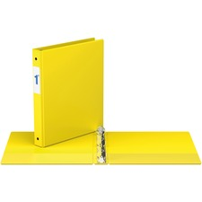 """Davis Round Ring Commercial Binder - 1"""" Binder Capacity - 8 1/2"""" x 11"""" Sheet Size - 3 x Round Ring Fastener(s) - 2 Inside Front & Back Pocket(s) - Yellow - Recycled - 1 Each"""